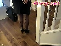 Humungous Globes Mature Secretary In Stockings