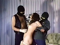 Kinky strapped up vintage brown-haired girlie gets mouth fucked on the floor