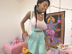 Black Cutie with Huge Tits Hooks Up with Guy