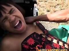 Rough outdoor tearing up with a crazy African slut and huge