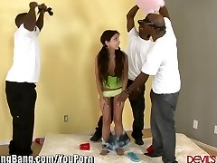 DevilsGangBangs Petite Teen Gets Banged By 3 Black Spears