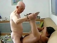 Chinese Granny Neighbour Gets Smashed by Japanese Grandpa