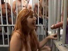 Bukkake - Cockslut with big tits in american prison bukkake