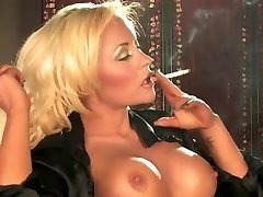 Super-steamy Sexy Busty Blonde Solo Smoking and Teasing