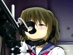 Petite anime cutie enjoys smashing machines