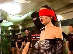 German Goo Girls - Blindfolded Milf bukkake group sex