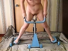 Married doll fucked on workout machine that was dildo