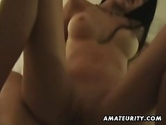Busty amateur pulverizes on holiday