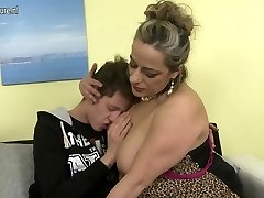 Naughty mature mother plowing not her son