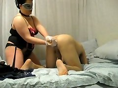 Bbw mistress destroys his backside with fist and strap on