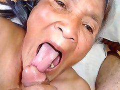 Older latina amateur granny  with big globes and big ass