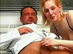 Blond chick has sex with huge cock doctor