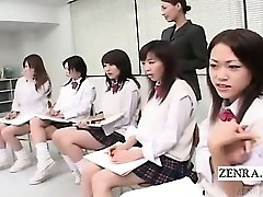 Subtitled CFNM Japanese college girls naked art class