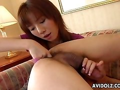 Asian whore munches his ass and sucks his donger