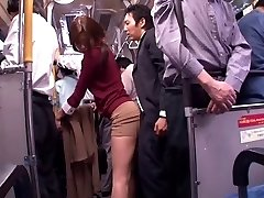 Chinese whore gargles dick in a public bus