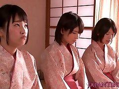 Slapped japanese teens princess dude while wanking him off