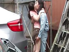 Busty Asian brunette trades off oral and gets her pussy banged