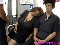 Gigantic tits asian fucked on train by two guys