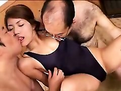Cool young babe has two kinky old guys loving her lo