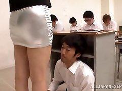 schoolgirl lick her teacher in classroom