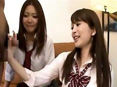 Subtitled CFNM Japanese schoolgirls tagteam oral