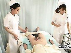 Subtitles CFNM two Asian nurses hand-job with cumshot