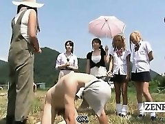Subtitled CFNM outdoor Japanese jelly milking ranch