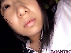 Harmless japanese schoolgirl swallows cum