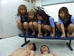 Four Japanese OLs slobbering on coworker