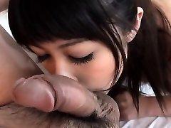 Oriental babe is having wild fun slurping a lusty wang