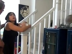 Chubby asian nephew fuck and creampie on the stairs