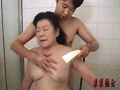 Japonês avó desfrutar do sexo
