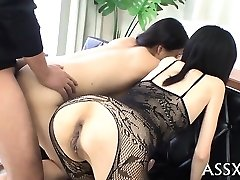 Raunchy blowbang from japanese playgirl with booty-butt-plug