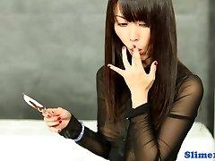 Asian gloryhole joy with cumlicking solo babe