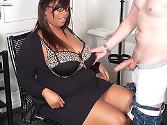 Chunky black cutie gets bossy with a job candidate and seduces him into hardcore sex