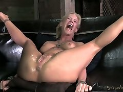 Strenuously trussed blond Milf with tight boobies gets fucked by black freak hard