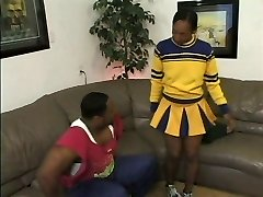 Gross ebony whore blows dark-hued cock and gets pounded in her dirty poon