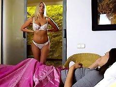Lesbian teen mistress with gigantic boobs