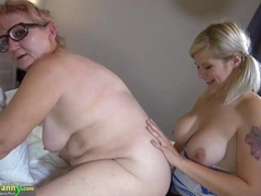 Teen big girl pulverizes rock hard old granny with strapon
