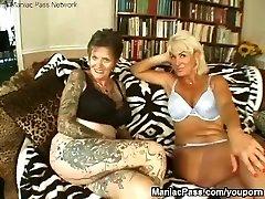 Inked lesbian granny fucked