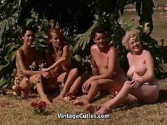 Naked Women Having Fun at a Nudist Resort (1960s Vintage)