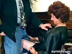Nasty MILF maid deep throats on her bosses partFive