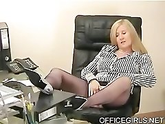 Chubby Secretary Taunts In the Office In Blue Silk Stockings