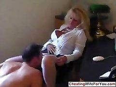 Mature hot secretary guzzle cum