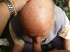 80 years old grandpa sucks in forest
