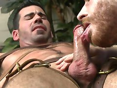 Hairy Muscle Stud Gets Strapped Down By Two Horny Sperm Bank Attendants