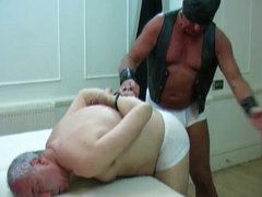 Leather daddy and panty spanking