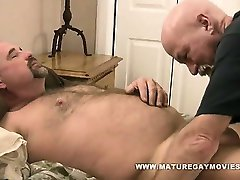 Bearish daddy fucks his skinny bald friends ass