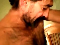 Mature straight bear face cum drenched