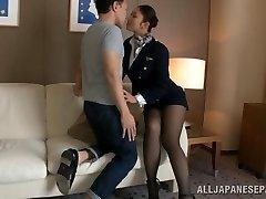 Super-hot stewardess is an Asian chick in high heels